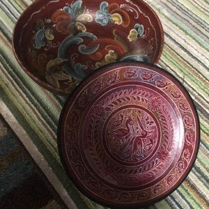 Antique South America wooden bowl and tray
